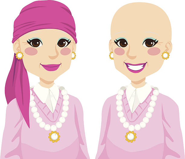 Senior Woman With Cancer Senior woman happy smiling and positive after surviving cancer and suffering hair loss due to chemotherapy treatment headscarf stock illustrations