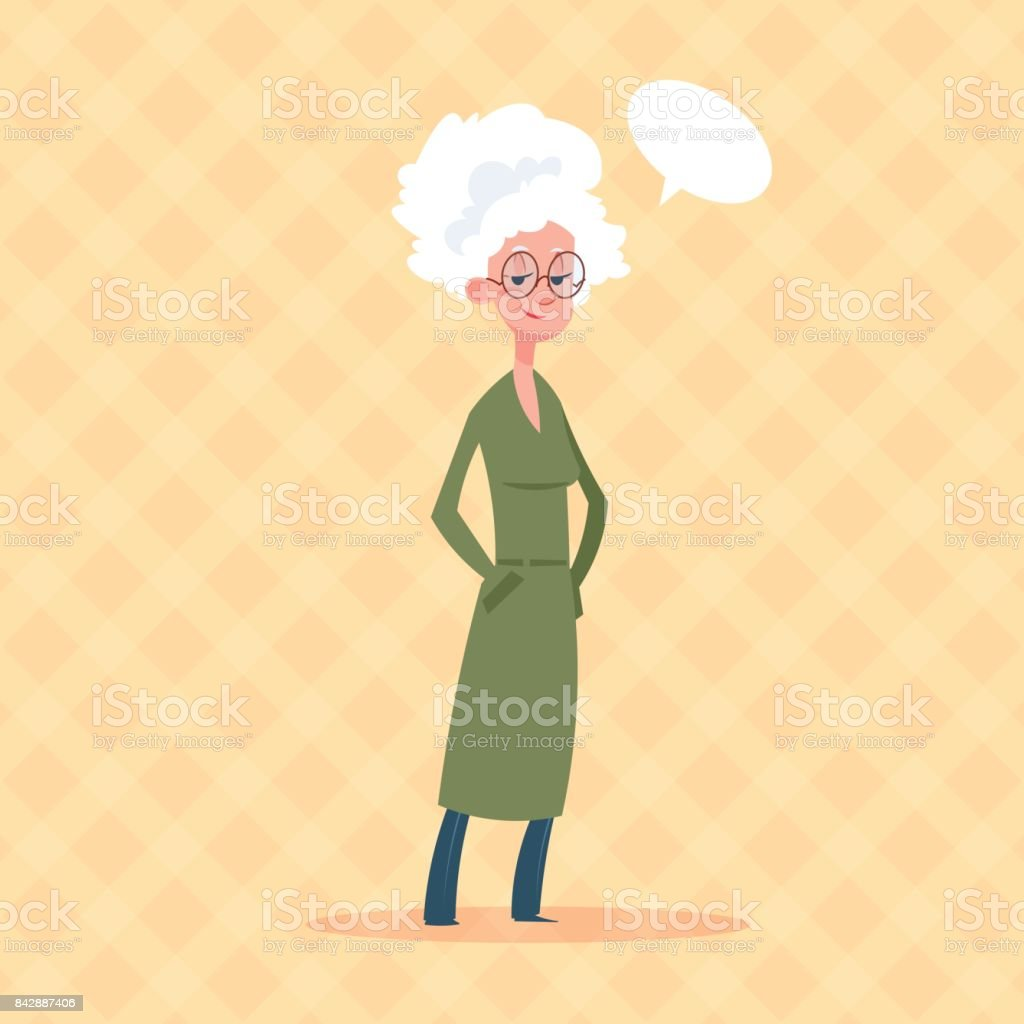 Senior Woman With Chat Bubble Modern Grandmother Full Length Lady vector art illustration