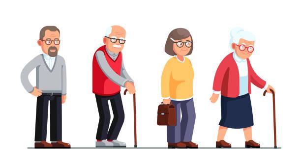 bildbanksillustrationer, clip art samt tecknat material och ikoner med ledande kvinnor och män står och promenera med promenader sockerrör. äldre personer tecknade figurer platta vektor clipart illustration. - medelålders