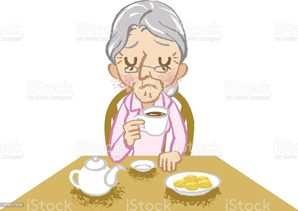 Senior women lonely tea time white background vector art illustration