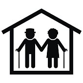 home for the elderly, seniors at house, vector icon