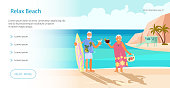 Landing web page template with Summer beach landscape background. Holidays and vacations banner with Senior age couple family people on vacation. Flat Art Vector illustration.