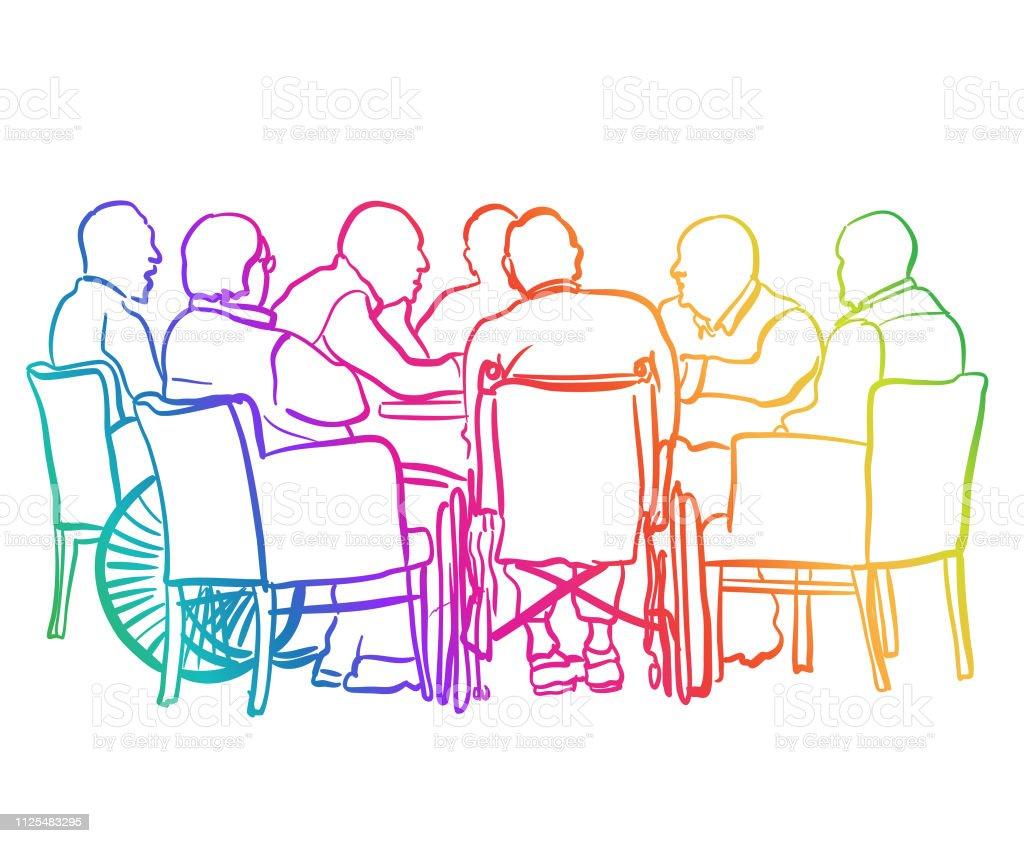 Seniors Card Table Rainbow Stock Illustration - Download