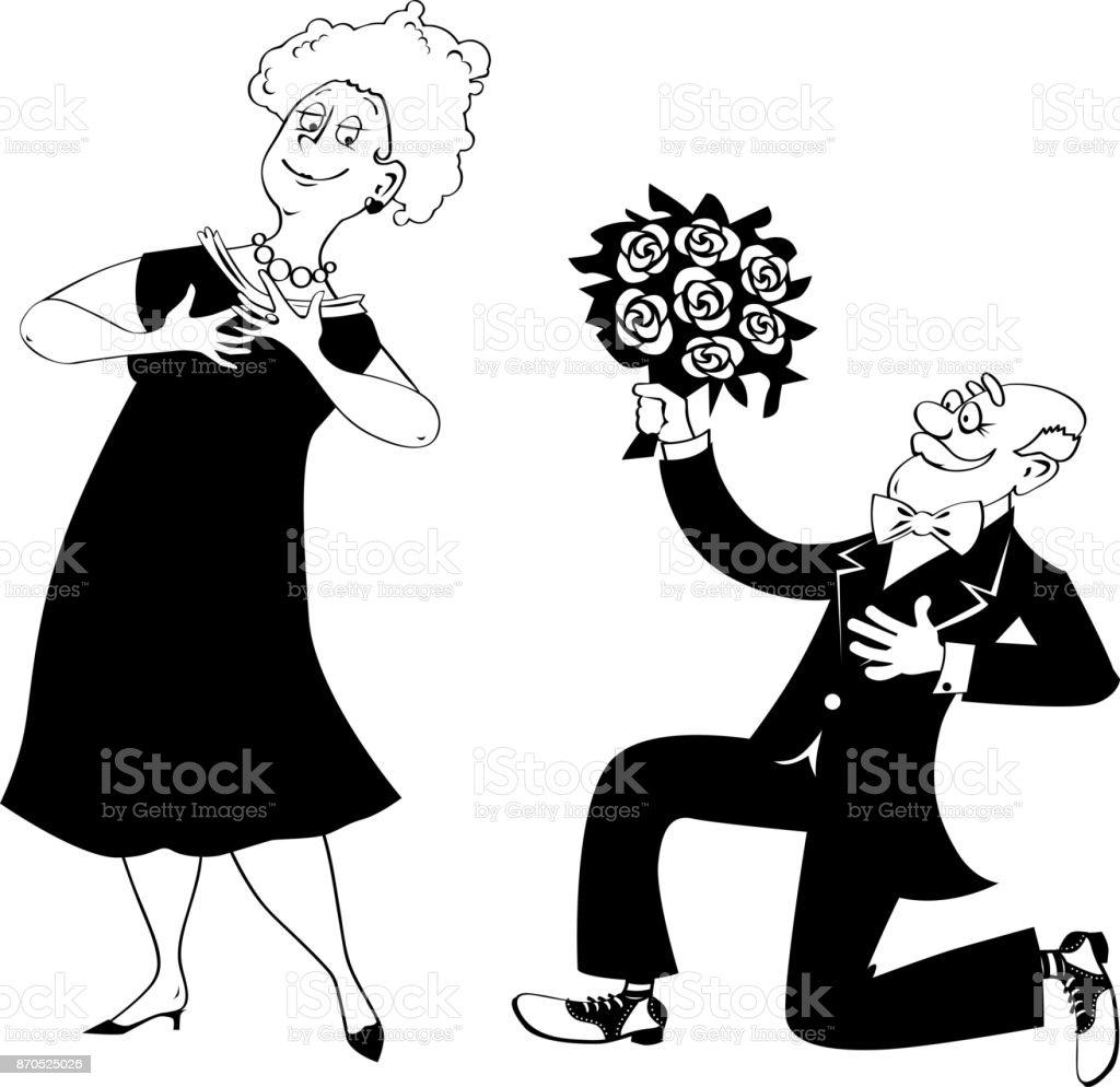 Seniors dating clip-art vector art illustration