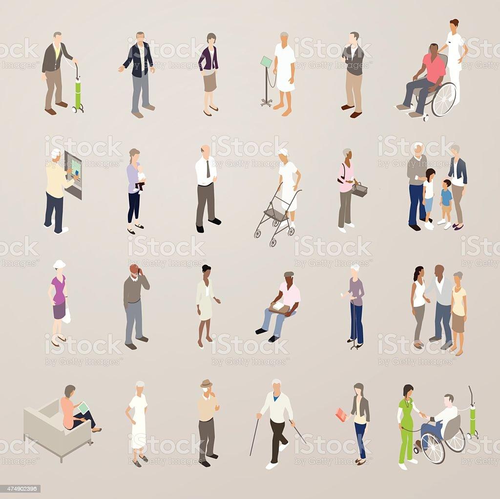 Seniors - Flat Icons Illustration vector art illustration
