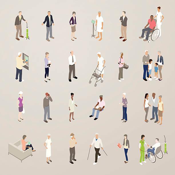 seniors - flat icons illustration - mathisworks people icons stock illustrations, clip art, cartoons, & icons