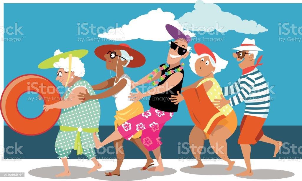 Seniors having fun on the beach vector art illustration
