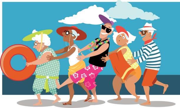 Senioren, die Spaß am Strand – Vektorgrafik