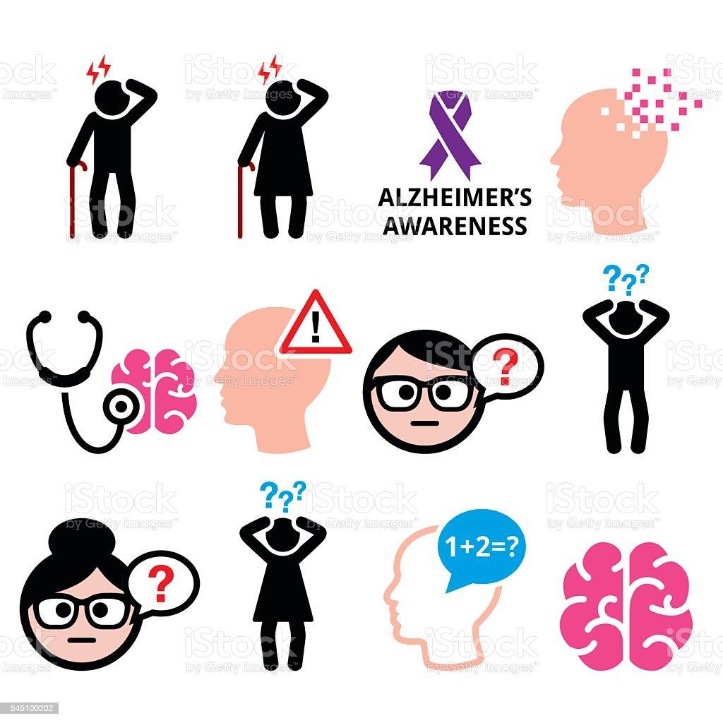 Seniors health - Alzheimer's disease and dementia, memory loss vector art illustration