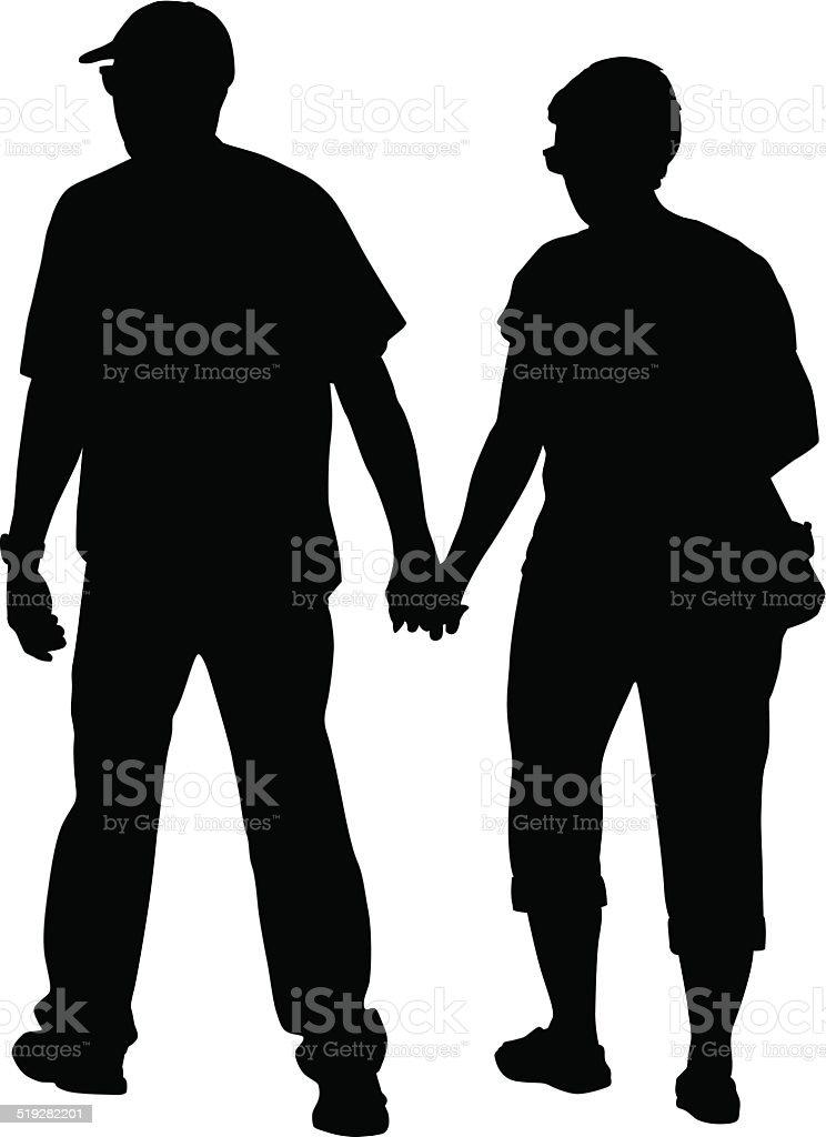Seniors Holding Hands vector art illustration