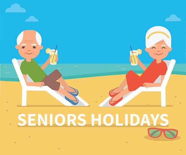 seniors holidays - old man sunglasses stock illustrations, clip art, cartoons, & icons