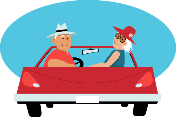 Seniors on a road trip Senior couple in a red convertible car, EPS 8 vector illustration car love stock illustrations
