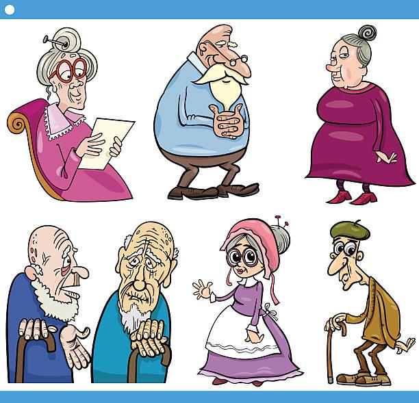 seniors people set cartoon illustration - old man clipart stock illustrations, clip art, cartoons, & icons