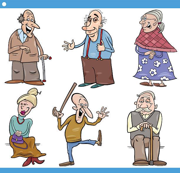 seniors people set cartoon illustration - old man funny cartoon stock illustrations, clip art, cartoons, & icons