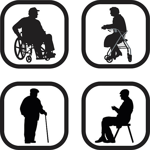 seniors - old man sitting chair silhouettes stock illustrations, clip art, cartoons, & icons