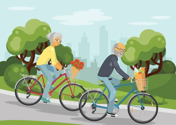 seniors - old man on bike stock illustrations, clip art, cartoons, & icons