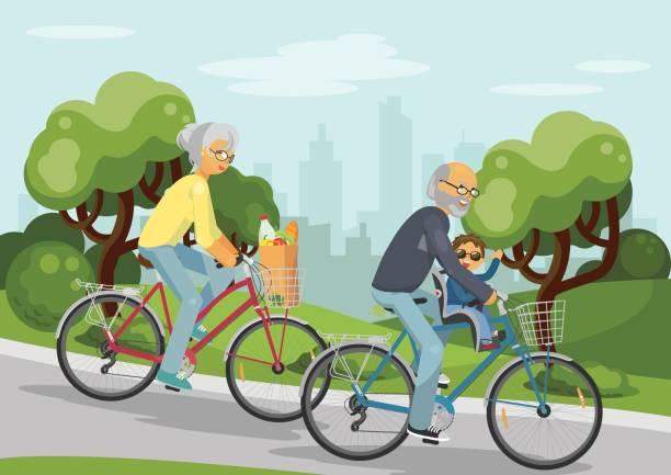 ilustraciones, imágenes clip art, dibujos animados e iconos de stock de seniors - nieto