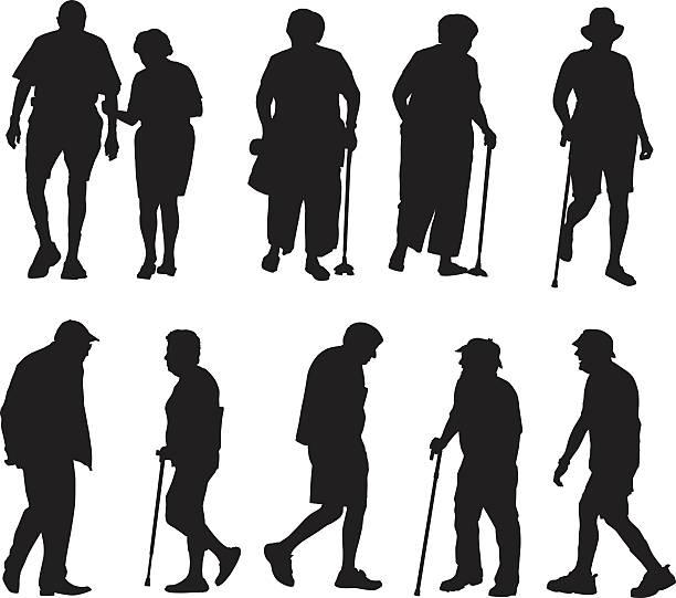 bildbanksillustrationer, clip art samt tecknat material och ikoner med seniors walking silhouettes - senior walking