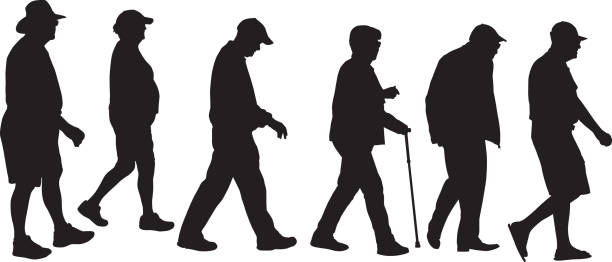 seniors walking silhouetts - old man in black stock illustrations, clip art, cartoons, & icons