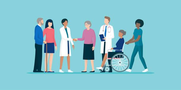 ilustraciones, imágenes clip art, dibujos animados e iconos de stock de las personas mayores con equipo de cuidadores y médicos profesionales - geriatría