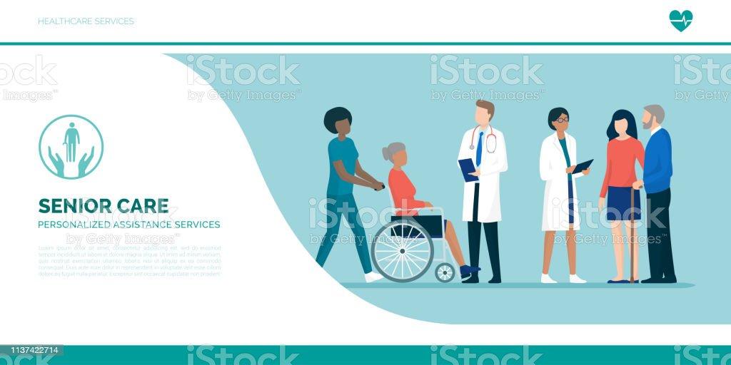 Las personas mayores con equipo de cuidadores y médicos profesionales - ilustración de arte vectorial