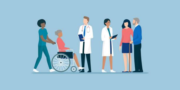 전문 간병인과 의사의 팀과 노인 - doctor stock illustrations