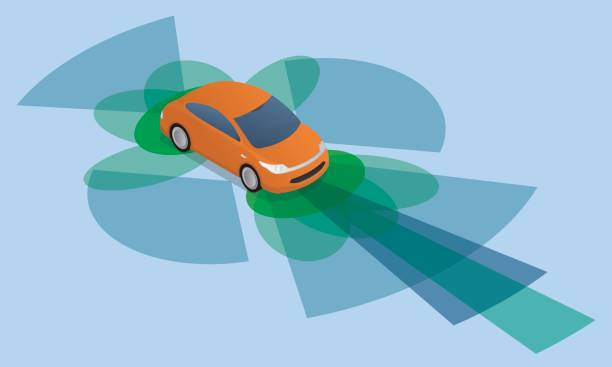 sensor and camera systems of vehicle, autonomous car, driverless vehicle - self driving cars stock illustrations, clip art, cartoons, & icons