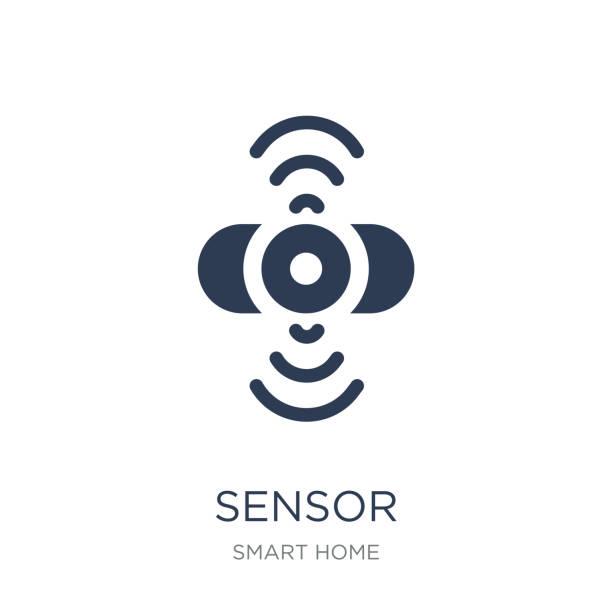 illustrazioni stock, clip art, cartoni animati e icone di tendenza di sensor icon. trendy flat vector sensor icon on white background from smart home collection - sensore