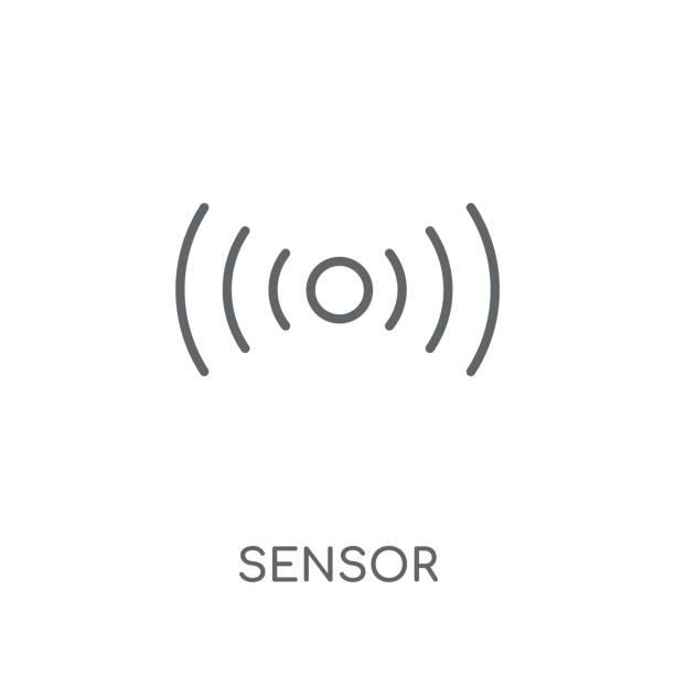 illustrazioni stock, clip art, cartoni animati e icone di tendenza di sensor linear icon. modern outline sensor logo concept on white background from smarthome collection - sensore