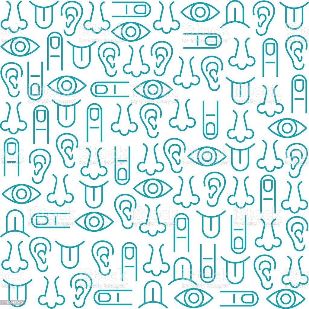 Sensory Perception Icon Set And Background Seamless Pattern vector art illustration