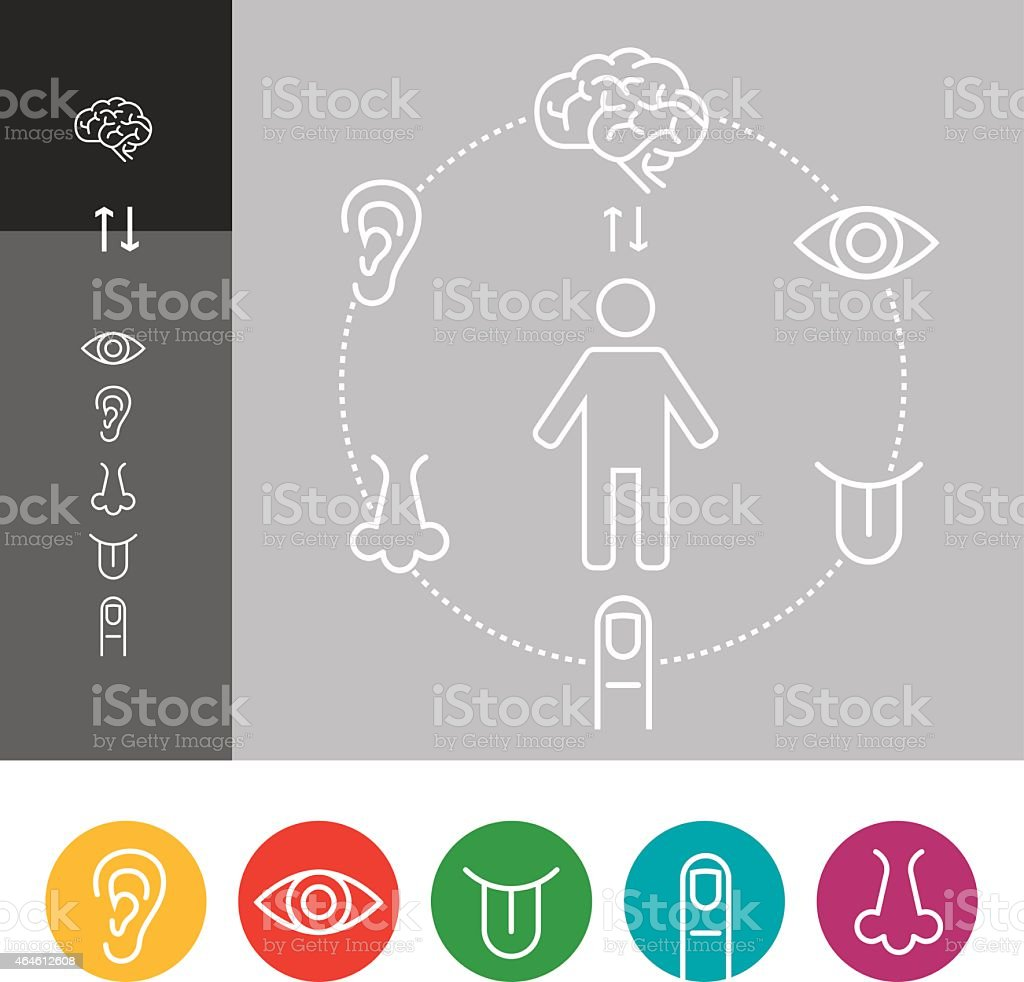 Sensory Perception Icon Set vector art illustration