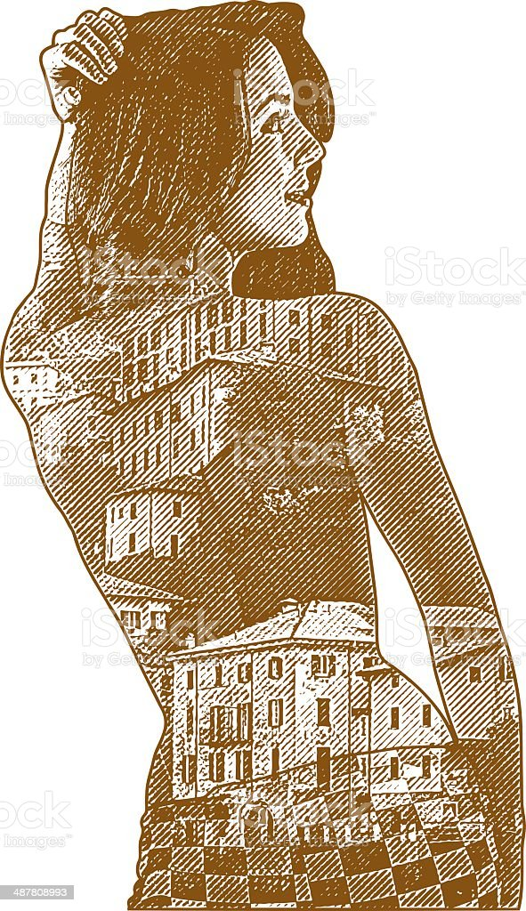 Sensuous Woman and Italian Villas royalty-free stock vector art