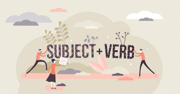 Sentence structure with subject and verb Sentence structure with subject and verb, flat tiny persons concept vector illustration. Learning language grammar and identifying word types. Writing and speaking principles, school study process. topics stock illustrations