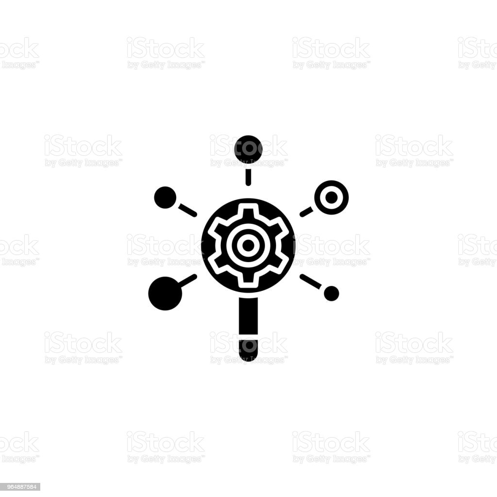 Seo analysis black icon concept. Seo analysis flat  vector symbol, sign, illustration. royalty-free seo analysis black icon concept seo analysis flat vector symbol sign illustration stock vector art & more images of analyzing
