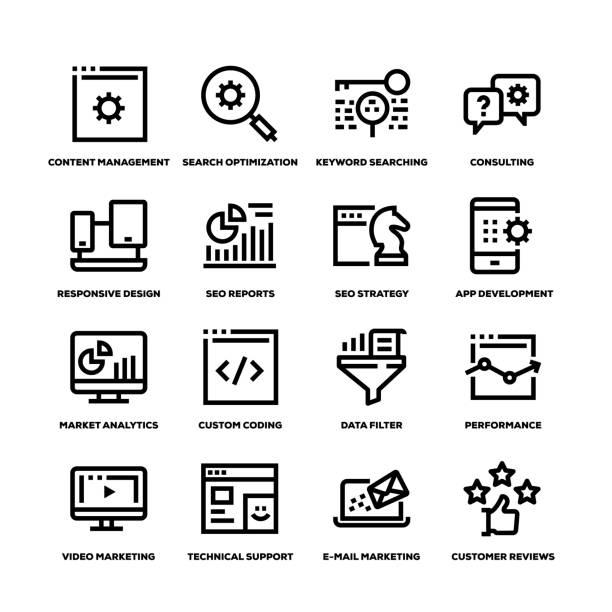 seo und entwicklung linie symbole - webdesigner grafiken stock-grafiken, -clipart, -cartoons und -symbole