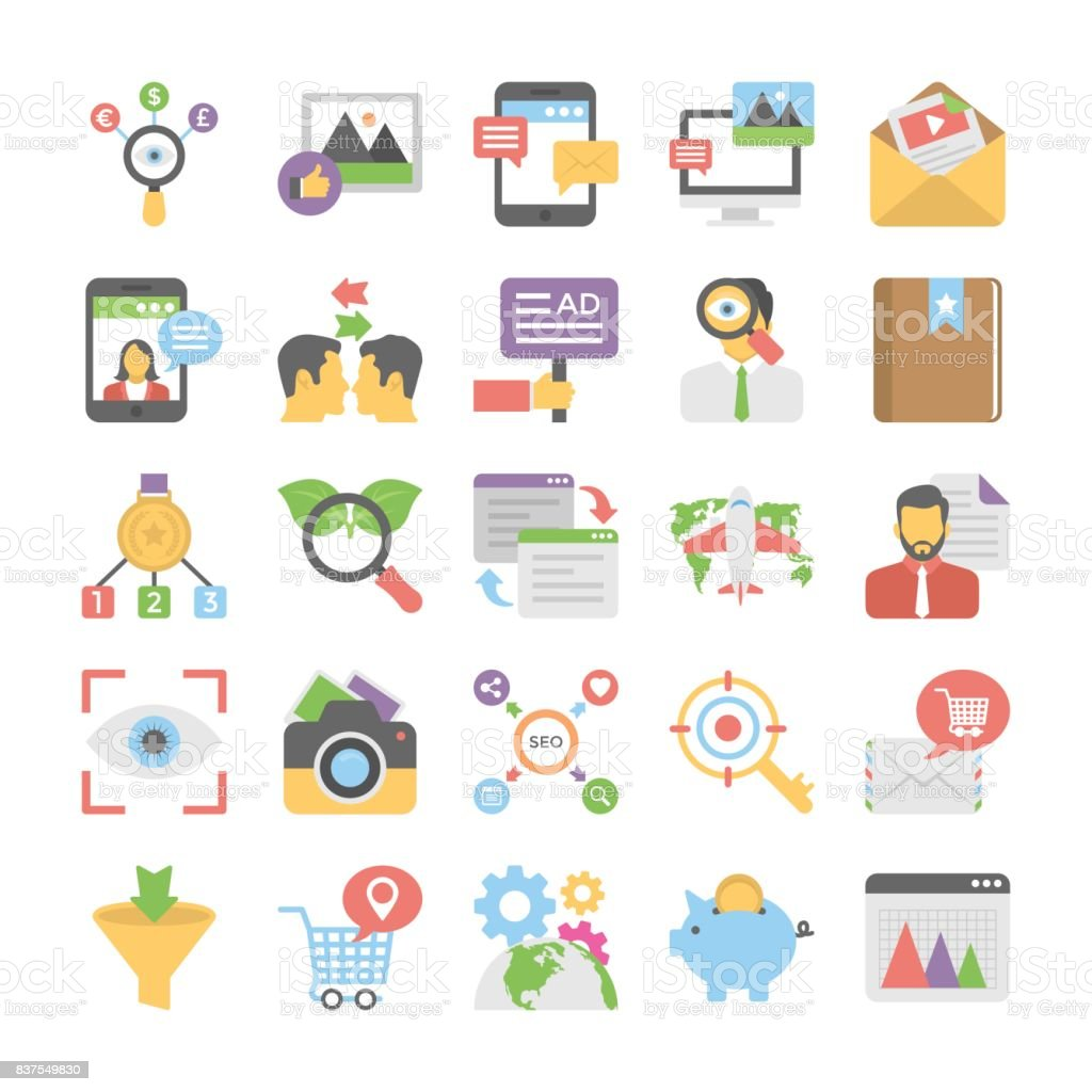 Seo and Digital Marketing Flat Colored Icons 11 vector art illustration