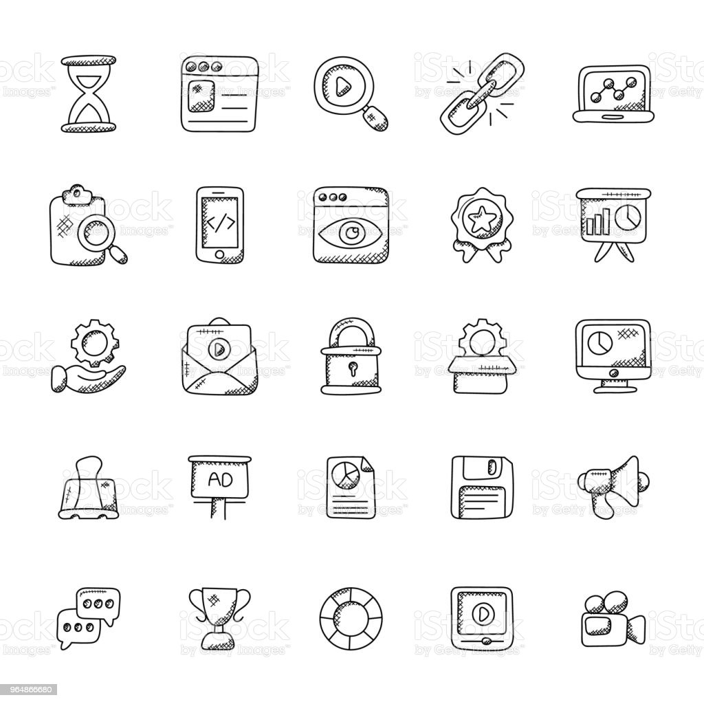 Seo and Marketing Doodle Vector Icons royalty-free seo and marketing doodle vector icons stock vector art & more images of advertisement