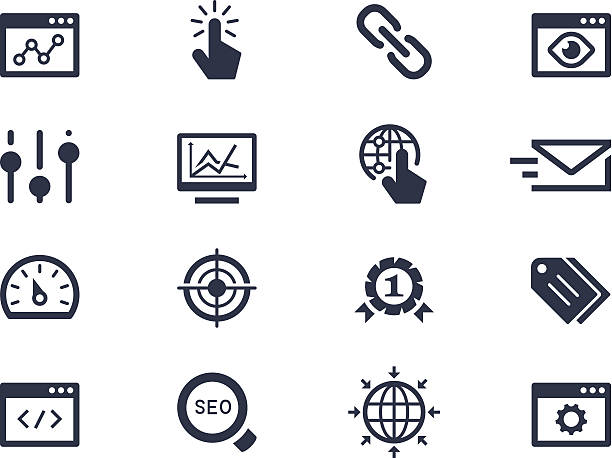 Seo and optimization icons Seo and optimization icons low scale magnification stock illustrations