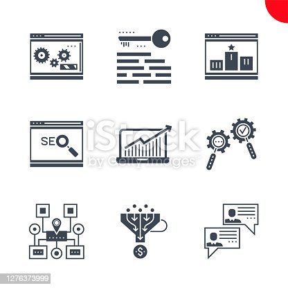 Glyph icons set with flat design of search engine optimization. Social chanels, keywording, sales funnel, sitemap navigation, search process, growth traffic, ranking. Monoline icons.