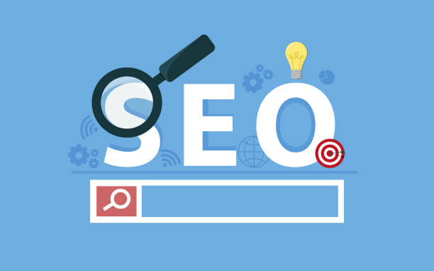 seo concept. targeting audience through advertising, branding, and digital media marketing. flat vector concept with icons - seo stock illustrations, clip art, cartoons, & icons