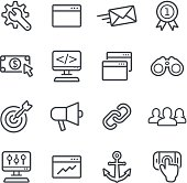 Line search engine optimization icons