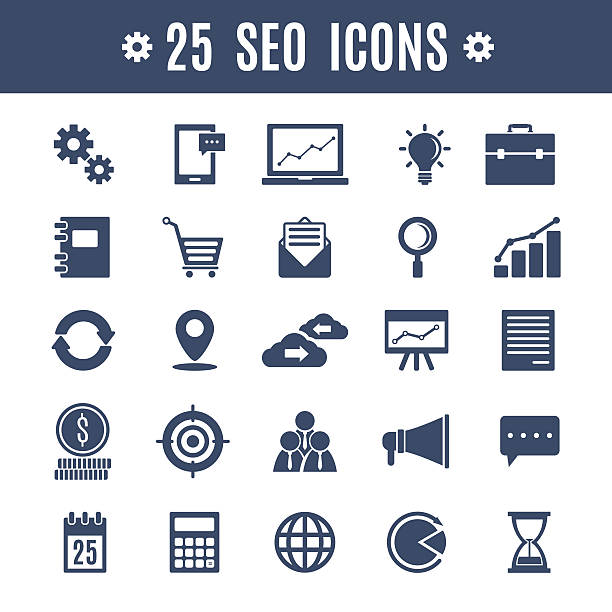 stockillustraties, clipart, cartoons en iconen met seo icons - klantbetrokkenheid