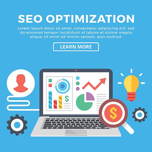 seo optimization concept. laptop with infographics. flat design vector illustration - arbeitsvermittlung stock-grafiken, -clipart, -cartoons und -symbole