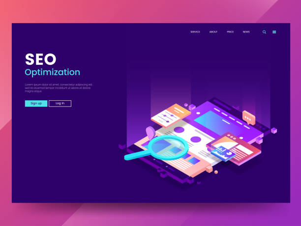 seo optimization web page template. isometric web interface with different app. colorful website illustration under a magnifying glass. modern landing page concept. vector eps 10. - seo stock illustrations, clip art, cartoons, & icons