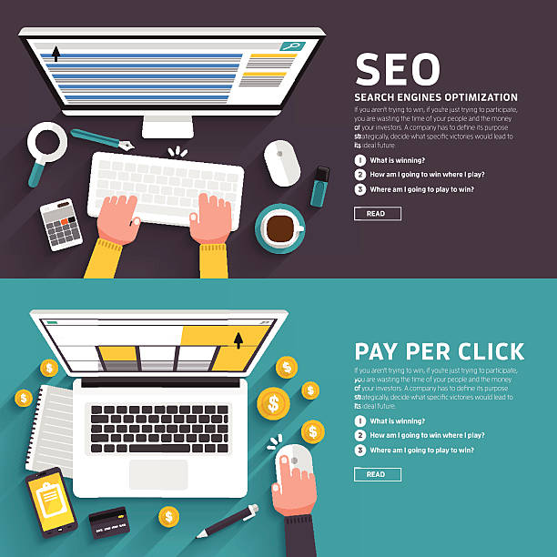 seo & pay per click - seo stock illustrations, clip art, cartoons, & icons