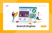 Seo, Search Engine Optimization, Analysis Landing Page Template. Marketing Strategy, Analytics with Tiny Characters Analyzing Financial Statistics Data Charts on Pc. Cartoon People Vector Illustration