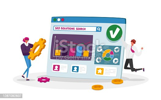 istock Seo, Search Engine Optimization, Business Data Analysis Concept. Marketing Strategy, Analytics with Tiny Characters 1287092837