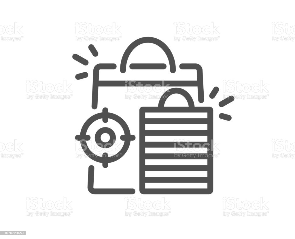 Seo Shopping Bags Line Icon Search Engine Optimization Sign