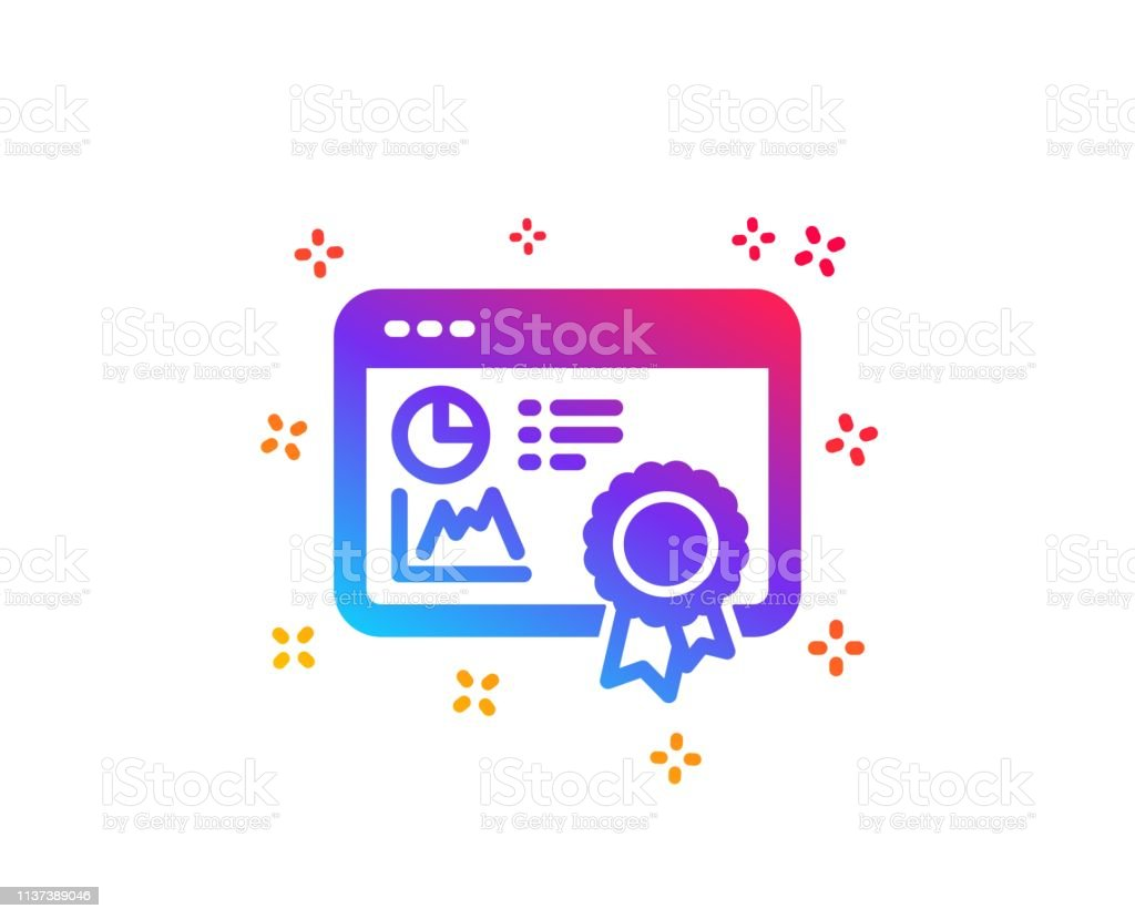 Seo Statistics Icon Search Engine Certificate Sign Vector
