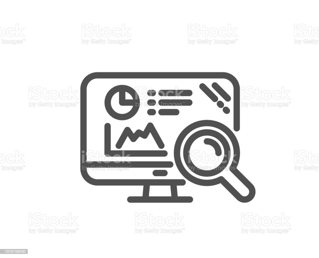 Seo Statistics Line Icon Search Engine Sign Vector Stock Illustration -  Download Image Now